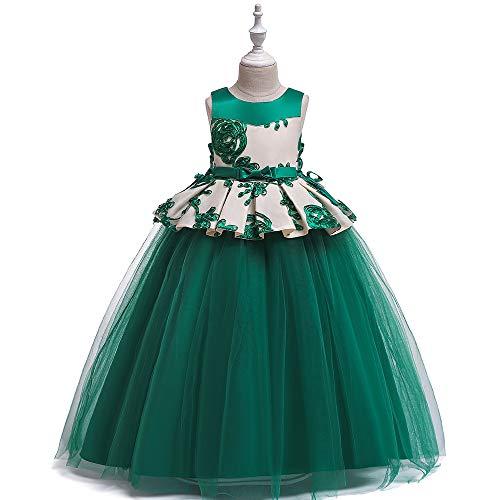 YARUDRESS Festzug-Kleider Stickerei Sleeveless Tüll Tutu, für Mädchen Damen Kleidung Party Mädchen Kleid Hochzeit Kleid Erstkommunion Prinzessin Kleidung Baby Kostüm 4-14 Jahre,Green,130cm