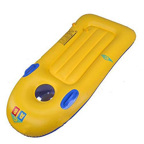 Matte, Surfbrett (FXQIN Schwimmende Reihe der Kinder - verdicktes Surfbrett, Schwimmen-Matte mit Handgriff - aufblasbares Hängematte-Pool-Hin- und Herbewegungsbett (Gelb + Blau))
