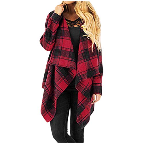 Allence Gitter Strickjacke Langarm Casual Cardigan Loose Jacke Mantel Stricken Outwear Tops Cover Up Pullover Rot