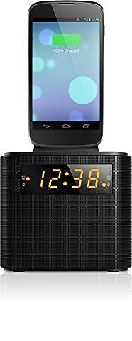 Philips AJ3200 Radio-réveil, station d'accueil et chargeur universel pour Smartphones avec Tuner FM, double alarme, Noir
