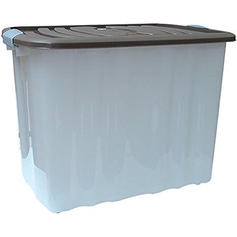 Mondex pls529–27–Caja de almacenaje con tapa y ruedas plástico 58x 39x 42,5cm 65L, plástico, marrón pardo, 65