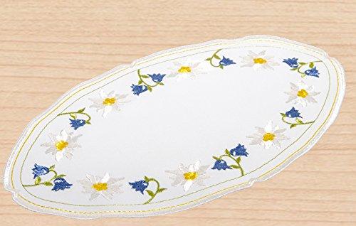 Plauener Spitze Deckchen Sommerblume oval 18 x 35 cm blau gelb weiß