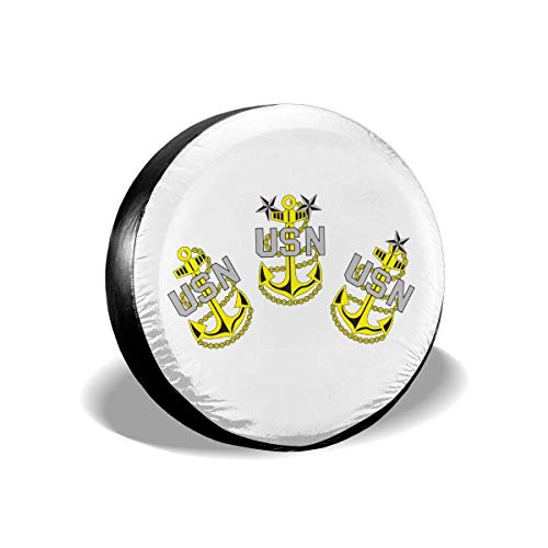 best& Us Navy CPO Chief Petty Officer Retired Polyester Universal Spare Wheel Tire Cover Wheel Covers Jeep Trailer Rv SUV Truck Camper Travel Trailer Accessories 14 Inch (Chief Us-navy)
