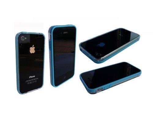 Avcibase 4260310641560 Bumper Silikon TPU Schutzhülle für Apple iPhone 4/4S blau/klar