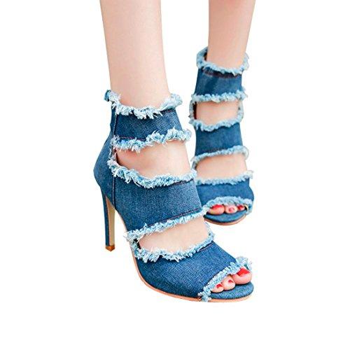 nim Peep Toe Dünne Ferse Keile Reißverschluss Super High Heel Schuhe ()