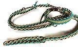 Viva Nature Handgemachtes Hunde-Halsband MIT Leine im Set/verstellbar 35-42 cm \ Paracord-PP-Flechtleine/Geflochten/Hund (Türkis Honey Braun)