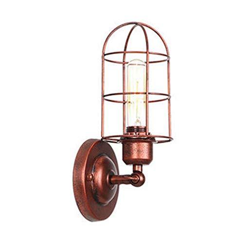 Lámpara De Pared Industrial De Color Óxido, Aplique De Pared Ajustable Con Jaula De Hierro, Loft Escalera...