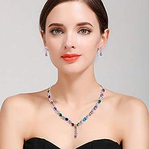 Clearine Donna Parure Gioielli-Collana Orecchini Elegante Delicato Zirconia cubica Infinito Y-Forma Collana Ciondolare Orecchini Set