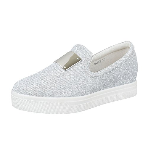 Ital-Design Low-Top Sneaker Damenschuhe Low-Top Slipper Freizeitschuhe Silber