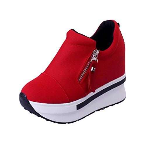 OCHENTA Mujer Lona de La Manera de La Cuna de Tacon Cerrado Deporte Zapatos Cordones #3 Rojo 38 5FLCk