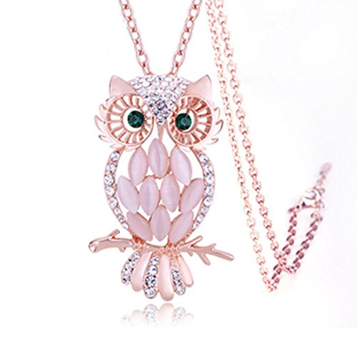 cdet Frauen Halskette Pink Eule Kristall Anhänger Lange Kette Halskette Halsband Choker Halskette Schmuck Weihnachten ()