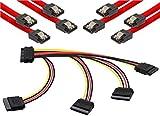 Poppstar S-ATA Kabel Set (Stecker gerade), 4X 0,5m Sata 3 Datenkabel, rot + 20cm 4-Fach S-ATA Y-Stromkabel Adapter, für HDD, SSD, Festplatte, Mainboard, PC Case Modding