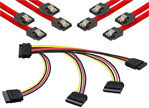 Poppstar S-ATA Kabel Set (Stecker gerade), 4X 0,5m Sata 3 Datenkabel, rot + 20cm 4-Fach S-ATA Y-Stromkabel Adapter, für HDD, SSD, Festplatte, Mainboard, PC Case Modding 120 Gb-dvd-cd