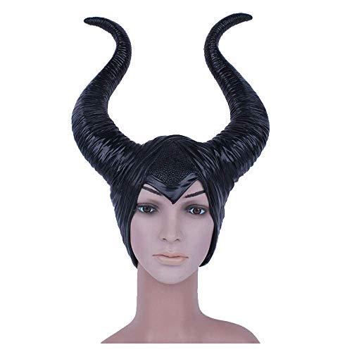 YaPin Schlafen Dämon Horn Maske Perücke Marin Fussen Hexe Horn Hut Halloween Helm Requisiten (Hälfte Die Halloween-make-up Hexe)