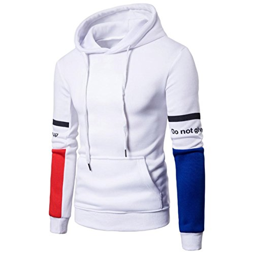 Männer Hoodies Outwear,Moonuy Herren Langarm Brief Hoodie Kapuzen Sweatshirt Top T Outwear beiläufige Bluse,hoodie herren,under armour hoodie herren,mantel herren (Weiß, EU 40 / Asien XL)