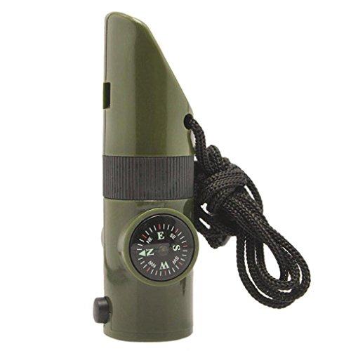 Mini-notfall-kit (Aolvo 7in 1multifunktionalen Mini Camping Abenteuer Survival Whistle Kit LED Taschenlampe Reflektor Lupe für Notfall Survival Rucksackreisen Jagd Reisen-Armee Grün)