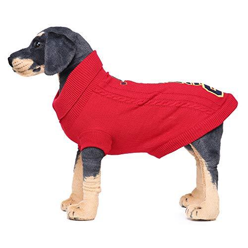 Tonsee Große Haustier Winter Strickpullover Weihnachten Warme Mode Mantel Jacke Hundepullover Sweater Strickjacke Kostüm Rollkragenpullover Bekleidung für Mittlere Kleinen und Große Hunde (6XL, Rot)