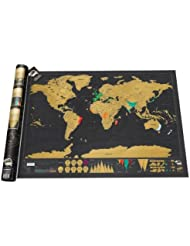 liqy Scratch Off World Map, Rubbel Weltkarte, Scratch Ihre Abenteuer. | Travel Map Travel Poster | Welt Scratch Map Off |