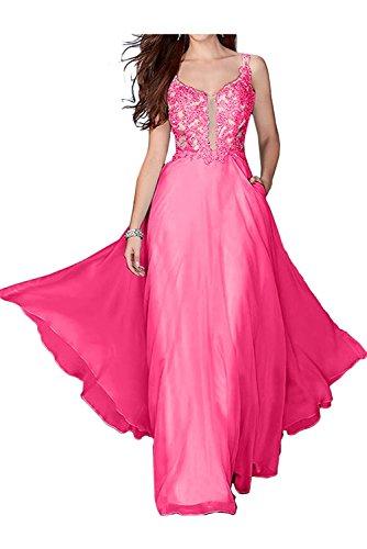 La_Marie Braut Rosa Festliche Damen Kleider Brautmutterkleider Lang Abendkleid Mit Spitze Kleider A-linie Dunkel Rosa