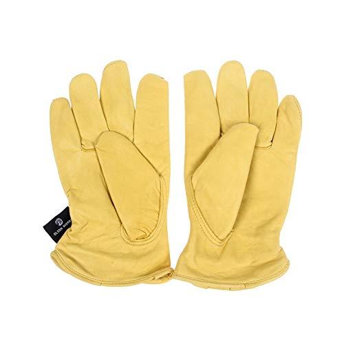 Guanti for Finger Scooter Lavoro Caccia completi in pelle moto 1 paio Vintage capra guanti moto bicicletta gialla universale antiscivolo Guanti Nuovo (Size : M)