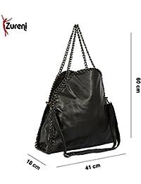 Zureni Large Pocket Women Shoulder Bag Classic PU Leather Shoulder Handbag For Girls With Metal Chain Strap -...