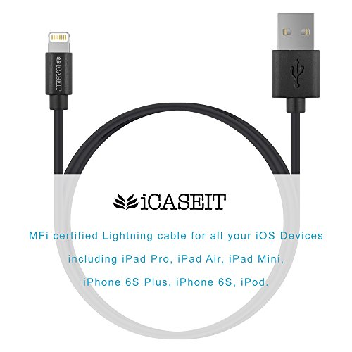 Cavo da Lightning a USB [Certificato Apple] iCASEIT Quick Charge & Sync Lightning Cable for iPhone 7 6s 6 Plus SE 5s 5, iPad Pro Air mini, iPod touch & more - 1m / 3.3ft | Braided Gray & Black BLACK