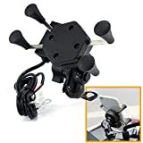 CEUTA® Bike Phone Mount,Universal 360° Aluminum Motorcycle Handlebar Mirror Base Mobile Phone mounting Holder Navigation Bracket with USB Fast Charger