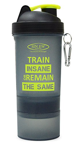 Sinew Nutrition All In One Smart Shaker Bottle 600ml - 20 oz (Black/Neon Green)  available at amazon for Rs.219