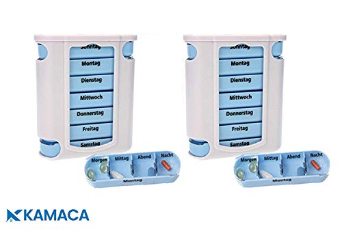 Kamaca ® - 2 er Pack (= 2 Stück) praktischer Medikamentendosierer, Pillendose,Pillenbox, Tablettenbox, Wochendosierer, 14 Tage Shop (2er Set)