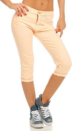 11541 Fashion4Young Damen Caprihose Slimline Capri Hose Sommerhose Pants 3/4 Hose SlimFit (apricot, 40)
