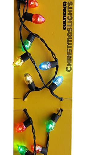 Weihnachts Lichterkette zum Umhängen X-Mas Lights Halskette mit blinkenden Lichterkerzen (Neue Version jetzt alle Lichter beleuchtet) wahlweise dauerhaft an,. abwechseln blinkend, zusammen blinkend absolut crazy Schmuck für den Weihnachtsmarkt oder auf Weihnachtsfeiern Griswold Family Wahnsinn für Elchglas Fans