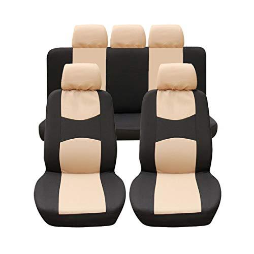 GODGETS Copri-sedili Auto Universale Set Completo/Set Copri-Sedile Universali per Anteriori e Posteriori/Accessori Auto Interno,Nero Beige,2 * Seater Anteriore + 3 * Seater Posterio
