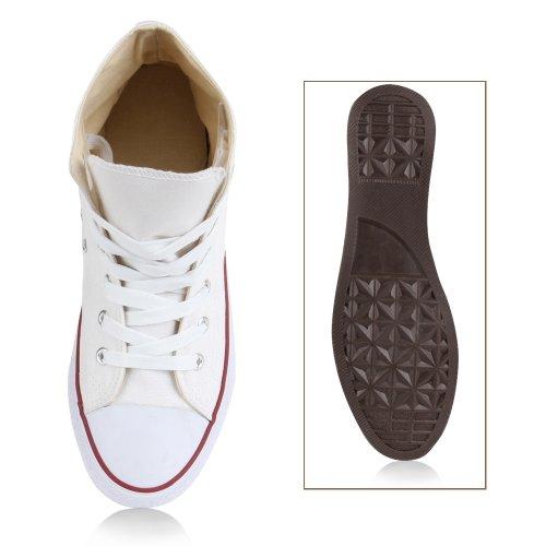 Herren Schuhe Sneaker Turnschuh Schnürer High Top Weiß