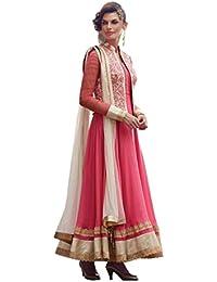 The Zeel Fashion pink Color gorgette Anarkali Salwar Suit Unstitched dress material