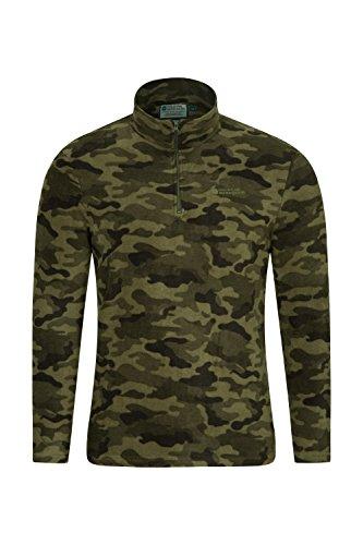 Mountain Warehouse Herren-Camber-Fleece - Ultraleicht, atmungsaktiv, wasserdichte Jacke, schnell trocknend, Antipilling-Sweatshirt, extra Belüftung - zum Wandern, Frühling Camouflage X-Small