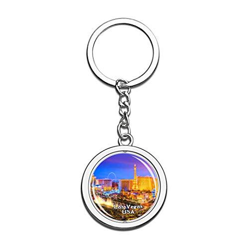 USA Vereinigte Staaten Schlüsselbund Brunnen von Bellagio Las Vegas Schlüsselbund 3D Kristall Drehen Rostfreier Stahl Schlüsselbund Touristische Stadt Andenken Schlüsselanhänger