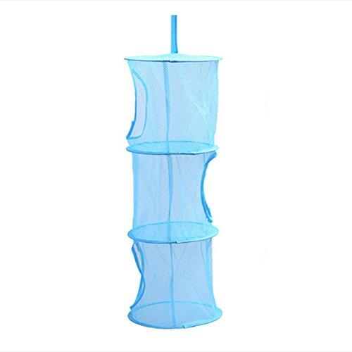 CHCUAN Aufbewahrungsbox für Spielzeug, Netzkorb zum Aufhängen, weiche Teddy-Hängematte, faltbares Netz, 3 Ebenen, platzsparend, Geschenk, für Kindertag, Kuscheltier und Schlafzimmer blau (Blau-schlafzimmer-hängematten)