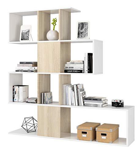 Azard kit libreria 'zig-zag' design cm.145x145x29 bianco rovere, 1