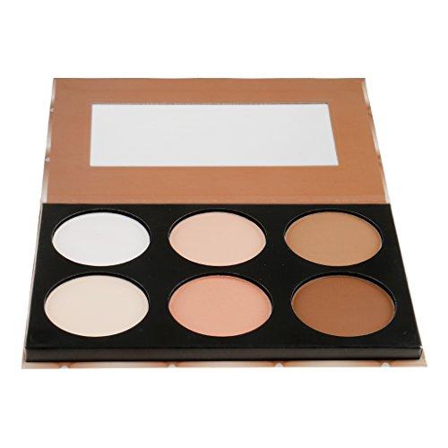 Sharplace Pro 6 Couleurs Palette Contour Poudre Pressé Ombre Fard à Joues Contour et Correcteur Highlight pour Maquillage