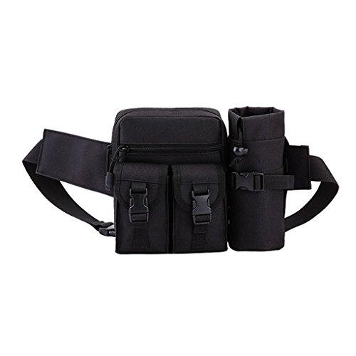 WHT Hüfttasche Multi-Function Gürteltasche Wasserabweisende Bauchtasche Flache Taille Tasche mit Flaschenhalter zum Sport und Reisen
