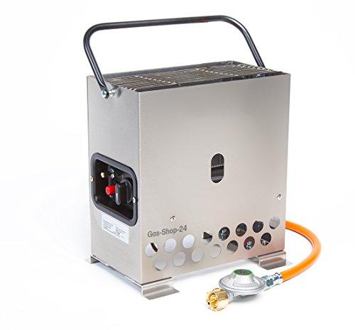 2,2 kW Edelstahl Gewächshausheizung / Frostwächter mit Gasschlauch + Druckminderer (Gasheizung,...