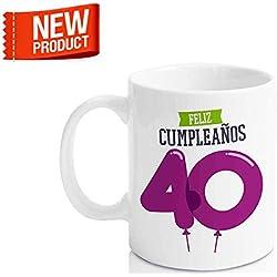"""Taza Cerámica para Desayuno en Color Blanco de 300 ml, Un Regalo Original para Aniversarios - """"Feliz 40 Cumpleaños"""""""