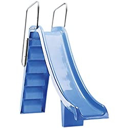 00085 Tobogán PRANASLIDE TOBOGA altura mt. 1,50 con barandilla de aluminio pintada blanca para piscinas residenciales.