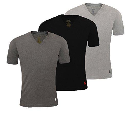 Ralph Lauren Herren Unterhemd V-Neck S-M-L-XL 3er Pack, Farbe:Schwarz/Grau/Anthrazit, Größe (Classic/Custom/Slim):S (Classic Fit) (Unterhemd Lauren)