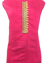 Grassroot Galery Silk Designer Women's Unstiched Dress Material In Rani Pink And Yellow With Ethnic Chanderi Antique...