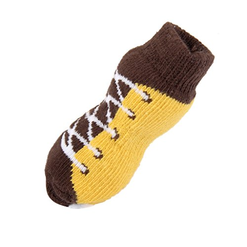 Baoblaze 4pcs Haustier Socken weiche warme Rutschfeste Pfoten Beschützer für Katze Hunde - Schnürsenkel, L -