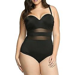 SaiDeng Mujer Plus Size Empalme De Malla Vintage Ruching Una Pieza Bañador Traje De Baño Negro XXL