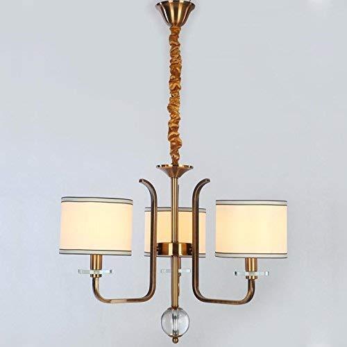 DGHDFH ●, Zurück Amerikanische Kronleuchter Wohnzimmer Schlafzimmer hat Lampe Kupfer Schmiedeeisen Weiß Schatten in Stoff Home Beleuchtung And14 110-240 V, 6 Lichter ● -