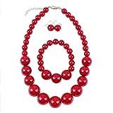Shuny Ensemble de Bijoux,Perle d'imitation Rouge,Collier de Perles,Bracelet de Perles et 1 Paires de Boucles d'oreilles en différentes Couleurs.