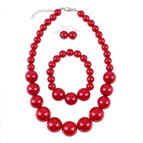 Kostüm Schmuck 1950 - Shuny Schmuckset,Rote Perlenkette,Nachgemachte Perle,Damenschmuck-Collier-Set,Perlenkette, Perlenarmband und a Paar Ohrstecker,für Hochzeit/Events/Party